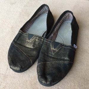 TOMS gold and black metallic shoes